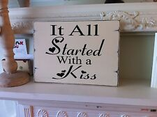 Shabby Wedding Sign Chic Distressed Large Gift Easel Sitter Engagement