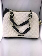 Betsey Johnson Women's White/Black Quilted Gold Chain Satchel Hand Bag Purse