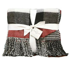 """Pottery Barn Whitaker Reversible Throw Blanket 50"""" x 60"""" Gray Red NWT"""