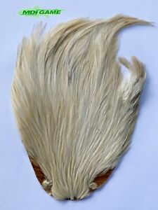 MDI Game Quality Grade A Natural White Indian Cock Cape For Fly Tying K6
