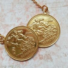 """Yellow Gold Plated 925 Silver St George Double Half Sovereign Coin 17"""" Necklace"""