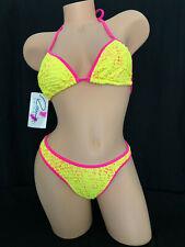 Ritchie Swimwear Bikini Set Neon Yellow & Pink Size 7/8 NEW Vintage Style