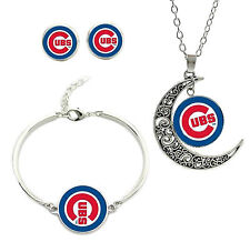 New Chicago Cubs Team Logo Bracelet Charm Pendant Necklace and Stud Earring Set