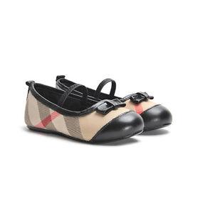 NIB NEW Burberry girls black leather and nova check ballerina shoes 24 US 8