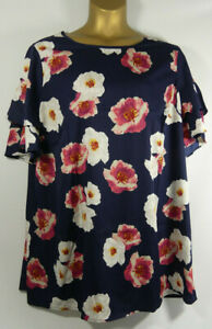 Ladies Womens Anthology Soft Navy Flared Sleeve Blouse Size 26 LTJul30-5