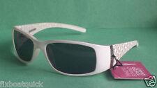 Foster Grant women sunglasses PETITE white frame black lenses NWT