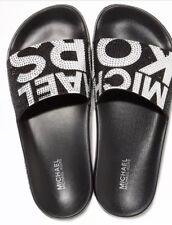 New Michael Kors Gilmore Pool Slide Sandals black sparkling shine Rhinstone