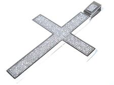 14k White Gold 33.00ct Princess Cut White Diamond Sleek Cross Pendant 99.7 Grams