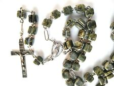 ANTIQUE 1800's SILVER FILIGREE AGATE BEAD ROSARY CROSS Fancy VERY LARGE Roma