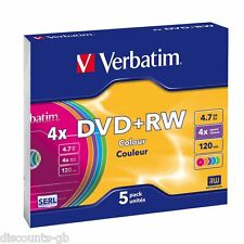 Verbatim DVD+RW 4.7GB 120MIN Colours Slim Jewel Case Pack of 5 - 43297