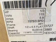 Century 1/3 HP Blower Motor 115V FDL1036 Shaft Furnace 3 Spd. NOS 1075 RPM Waste