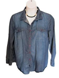Denim Shirt Blouse Size 20 XXL Dark Cotton L/S Button Front Top Trendy Casual