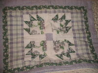SHABBY COTTAGE  PATCHWORK PILLOW SHAMS PURPLE GREEN FLORAL COUNTRY CHIC