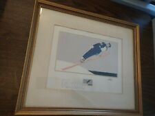 VINTAGE 1980 WINTER OLYMPICS LONG JUMPER SKIING STAMP SIGNED PAINTING PICTURE