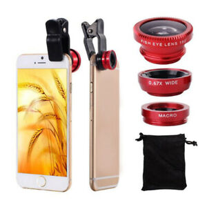 3 In 1 Mobile Phone Lenses wide Angle Macro Camera Lens For Iphone Huawei Solid