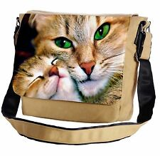 Lovely Cat With Green Eyes Messenger Cross-Body Shoulder Flap Bag