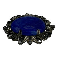 Vintage Brooch Pin Blue Faux Stone Silver Tone Floral Border Prong Set