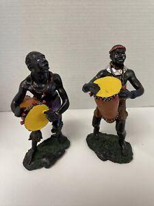 "Ceramic Sculpture African Drummer Tribal Bongo Statues Plaster  7 7/8"""
