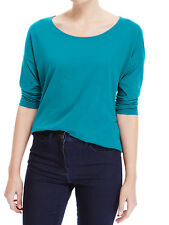 EX M&S TEAL PURE COTTON 3/4 SLEEVE TOP SIZE  14.16.18.20.22 £8.99 FREE P&P