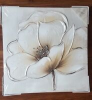 BROWN CREAM SILVER DIAMANTE FLOWER FLORAL CANVAS WALL ART PICTURE HAND PAINTED