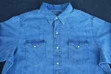Vintage Polo Ralph Lauren Western Shirt Size XL Pearl Snap Denim Chambray RRL