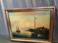 Tableau signé Willi huile sur toile Marine bateaux Vendée Saint Jean de Monts...