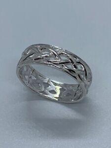Sterling Silver 6.5mm Celtic Fancy Design Band Ring, Size T