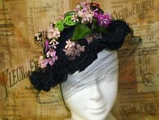 Antique Vintage Bonnet Hat Silk Straw-LILY of VALLEY-Fabric Flowers-Mlle. Aileen