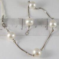 Armband Weißgold 750 18K, Perlen Weiß Durchmesser 8-9 mm, Kette Venetian
