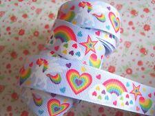1M x Rainbow Unicorn Heart Stars GROSGRAIN RIBBON Craft Hair Bow Cake 25MM UK