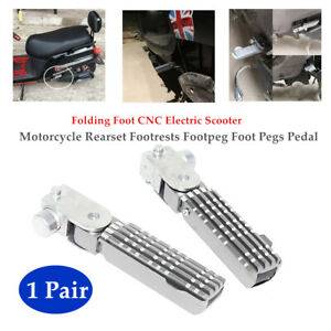 Pair Folding Foot CNC Motorcycle Scooter Back Pedal Rear Non-slip Rest Footpeg