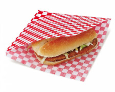 More details for red check burger bags with slit gingham greaseproof bags with 2 sides open wrap