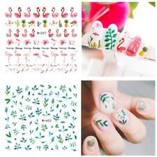 2Pcs Flamingos & Leaves Nail Art Water Decal Transfer Stickers DIY Decoration
