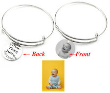 Personalize Engraved Photo text Charm Bracelet wire Bangle Custom text gift