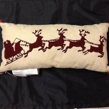 POTTERY BARN SLEIGHBELL CREWEL  EMBROIDERED LUMBAR  PILLOW RED/NEUTRAL NEW