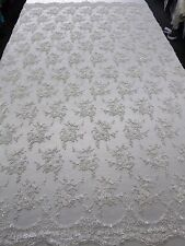 """White Bridal Floral Mesh w/ Embroidery Beaded Lace Fabric- 50"""" -Sold by the yard"""