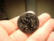 Antique black glass lacy FENCE with PLANT LIFE LARGE button