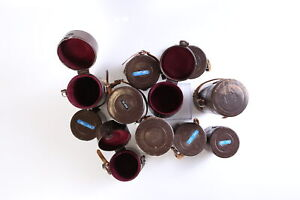Lot of 12 Nikon NPB Brown Leather Lens Caes Various Sizes