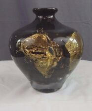 SIGNED JEAN CLAUDE NOVARO BLACK AND GOLD LEAF HAND MADE ART GLASS VASE w/ COA