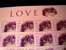 #4410, LOVE - PANSIES, 2010, EMOTIONS, MINT PANE OF 20-44 CENT STAMPS, CV $20.00