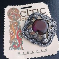 Large Vintage Signed MIRACLE Celtic Scottish Thistle Brooch Amethyst Purple