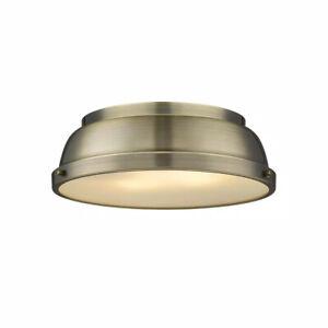 Golden Lighting Duncan AB 2-Light Aged Brass Flush Mount Light 3602-14 AB-AB