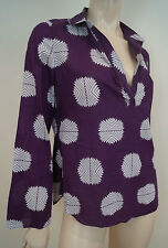 TORY BURCH Plum Cream 100% Cotton Collar V Neck Abstract Print Blouse Top 6 UK10
