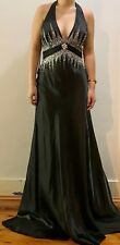 Sexy Black embellished beaded Sequinned semi formal Prom Dress Ball gown 8 10 12
