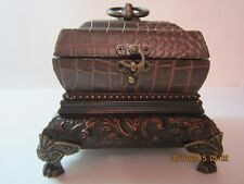 Decorative Wood & Leather Trinket Chest/Box With Brass Hardware
