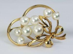 Mikimoto Tokyo 14k Gold Pearl Brooch Pin