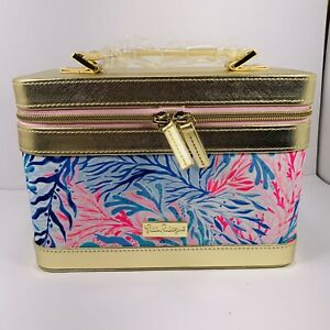 LILLY PULITZER Kaleidoscope Coral Prints Cosmetic Train Case