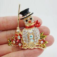 "Brooch Pin Clear Rhinestone Crystal 1.97"" Lovely Christmas Snowman Besom Flower"