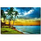 Sunset - Tropical  Sea Beach Nature Art Silk Poster 13x20 24x36inch Coconut Tree
