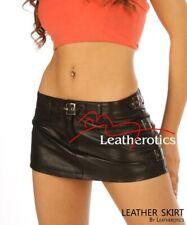 Full Grain Leather micro mini Skirt Tight Low Waist Hipster